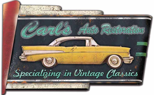 Carls Restoration, Red Horse Signs, vintage art on wood,  classic yellow and white 50's car, great for the garage or den