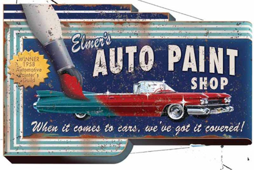 Elmers Auto Paint, Red Horse Signs, vintage wood art,  classic Cadillac painted red.