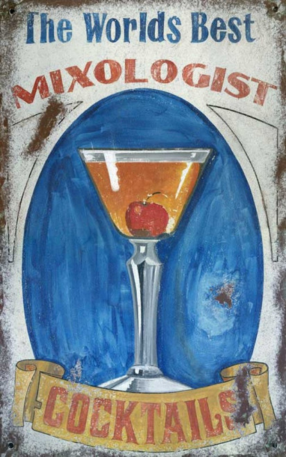 Mixologist, Red Horse Signs, vintage art on wood, name the drink, cherry martini, cosmopolitan, the world's best mixologist can make any cocktail