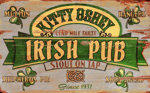 Irish Stout, Red Horse Signs, vintage wall art on wood, Kitty O'Shea's Irish Pub with stout on tap, bar sign,  gray background with green and yellow. Celebrate the Irish in you