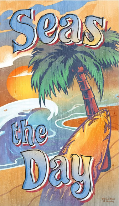 "Seas the Day, Red Horse Signs, vintage wall art on wood, a sandy beach, a palm tree, a surf board set the scene, ""Seas the Day"" is the catchy phrase that reminds us of Julius Caesar, well-known Latin phrase, carpe diem"