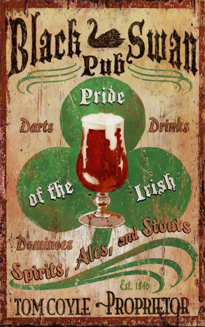 Irish Pub, Red Horse Signs, custom wall art on distressed wood, if your name is Coyle or Boyle, O'Malley or O'Henry, if you are Irish, this sign sings out to you. It is the Black Swan Pub, with an Irish Shamrock and glass of beer to welcome you and your guests