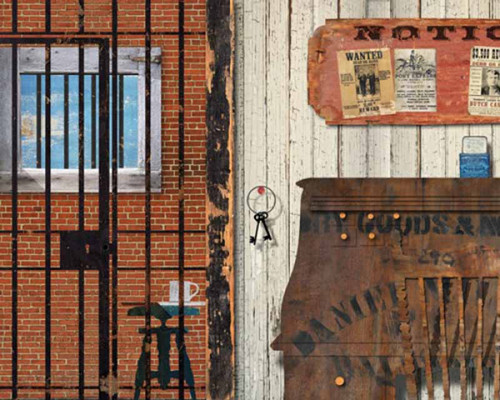 Jailhouse, Red Horse Signs, wall art printed on distressed wood,  an old fashion view of a Western jail