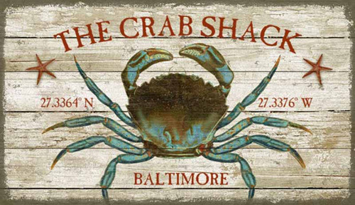 Crab Shack, Red Horse Signs, Artist Suzanne Nicoll, custom wall art on distressed wood,  blue crab is the centerpiece