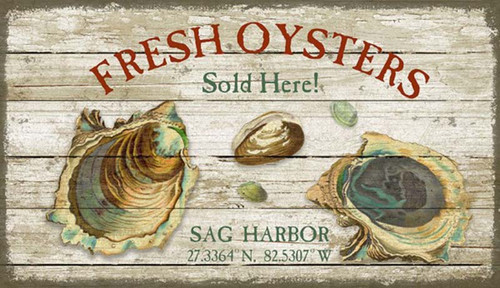 Fresh Oysters, Red Horse Signs, Artist Suzanne Nicoll, custom wall art on distressed wood,  raw delicious oysters are the centerpiece