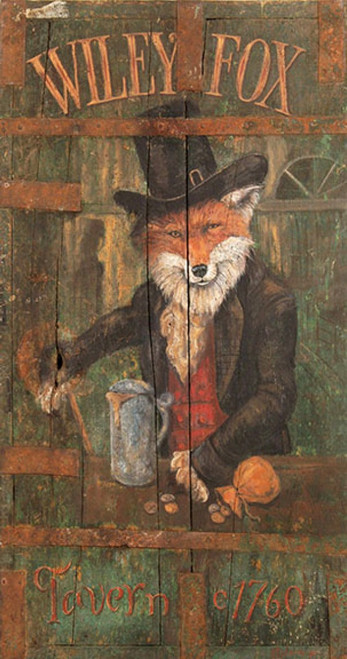Wiley Fox, Red Horse Signs, vintage print on distressed wood,  artist Terri Palmer, image of a red fox in top hat with a tankard of ale, circa 1760