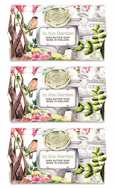 Box set of  3 soap bars, in the Garden soap bars Michel Design Works