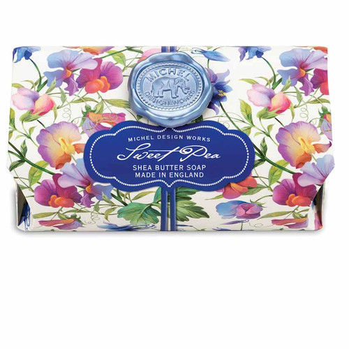 Sweet Pea Large Bath Soap Bar, Michel Design Works, Scent, Sweat pea with undertones of lilac, honey and carnation, handmade in Sussex, England, where Michel's artisan soap maker oversees every step