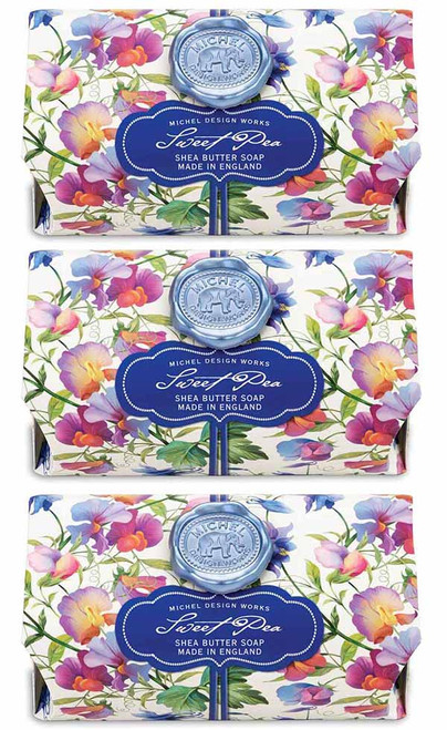 Set of 3, Sweet Pea Large Bath Soap Bar, Michel Design Works, Scent, Sweat pea with undertones of lilac, honey and carnation, handmade in Sussex, England