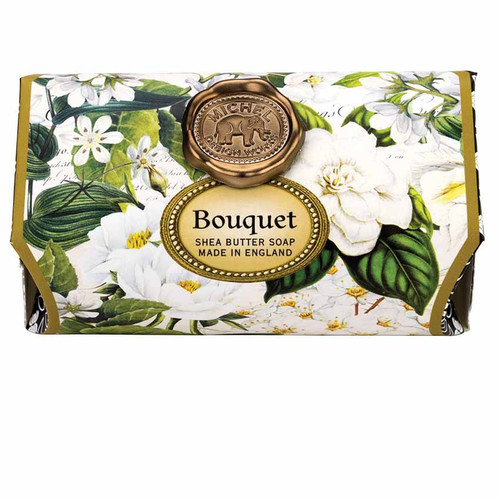 Bouquet Large Bath Soap Bar, Michel Design Works, Scent, Edelweiss, peony and mimosa tinged with fresh greenery and a hint of pine, handmade in Sussex, England, where Michel's artisan soap maker oversees every step
