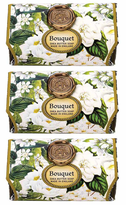 Box set of 3, Bouquet Large Bath Soap Bar, Michel Design Works, Scent, Edelweiss, peony and mimosa tinged with fresh greenery and a hint of pine, handmade in Sussex, England