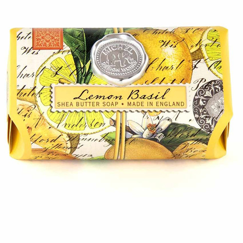 Lemon Basil Large Bath Soap Bar, Michel Design Works, Scent, Citrus notes of lemon and mandarin enhanced with green basil leaf, handmade in Sussex, England, where Michel's artisan soap maker oversees every step