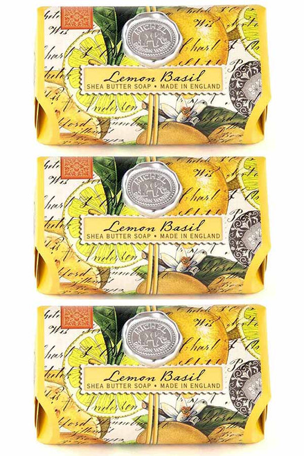 Set of 3, Lemon Basil Large Bath Soap Bar, Michel Design Works, Scent, Citrus notes of lemon and mandarin enhanced with green basil leaf, handmade in Sussex, England