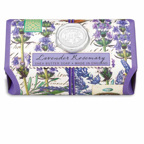 Lavender Rosemary Large Bath Soap Bar, Michel Design Works, Unmistakable scent of lavender with rosemary and a hint of eucalyptus, handmade in Sussex, England, where Michel's artisan soap maker oversees every step