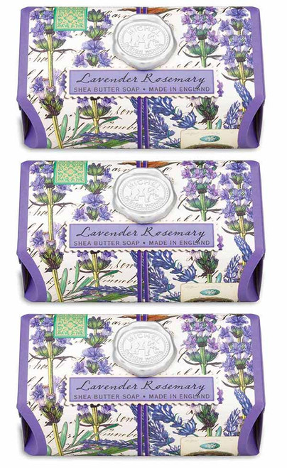 Set of 3, Lavender Rosemary Large Bath Soap Bar, Michel Design Works, scent of lavender with rosemary and a hint of eucalyptus, handmade in Sussex, England,