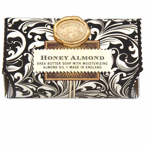 Honey Almond Large Bath Soap Bar, Michel Design Works, Scent, Sweet almond muddled with cherry, vanilla and honey, handmade in Sussex, England, where Michel's artisan soap maker oversees every step