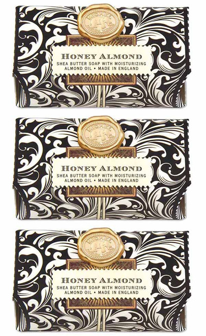 Set of 3, Honey Almond Large Bath Soap Bar, Michel Design Works, Scent, Sweet almond muddled with cherry, vanilla and honey, handmade in Sussex, England