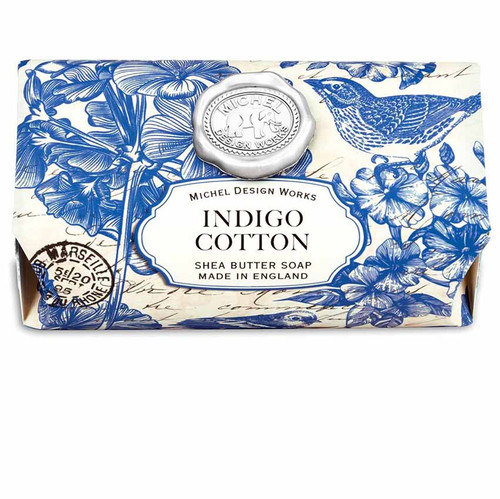 Indigo Cotton Large Bath Soap Bar, Michel Design Works, Scent, the freshness of linen with powdery floral undertones of violet, carnation and lily of the valley, handmade in Sussex, England, where Michel's artisan soap maker oversees every step