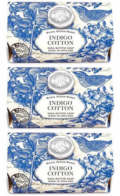 Box set of 4, Indigo Cotton Large Bath Soap Bar, Michel Design Works, Scent, the freshness of linen with powdery floral undertones of violet, carnation and lily of the valley, handmade in Sussex, England