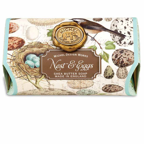 Nest and Eggs Large Bath Soap Bar, Michel Design Works, Scent, soft rain on a wildflower meadow with the slightest hint of lemon, moss and cyclamen, handmade in Sussex, England, where Michel's artisan soap maker oversees every step