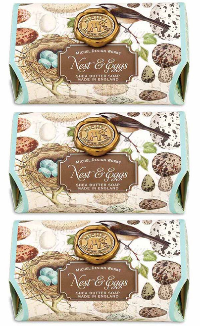 Box set of 3 soaps, Nest and Eggs Large Bath Soap Bar, Michel Design Works, Scent, soft rain on a wildflower meadow with the slightest hint of lemon, moss and cyclamen, handmade in Sussex, England