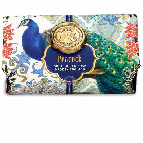 Peacock Large Bath Soap Bar, Michel Design Works, Scent, Cypress, cedarwood and patchouli with notes of cinnamon, pine and amber, handmade in Sussex, England, where Michel's artisan soap maker oversees every step