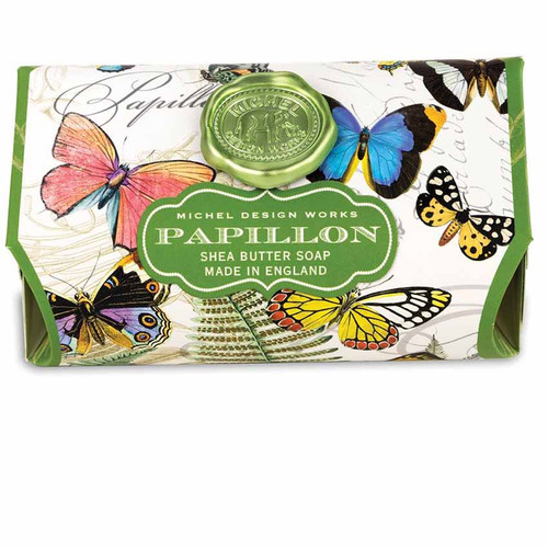 Papillon Large Bath Soap Bar, Michel Design Works, Scent, freshly cut meadow with touches of gardenia and honeysuckle, handmade in Sussex, England, where Michel's artisan soap maker oversees every step