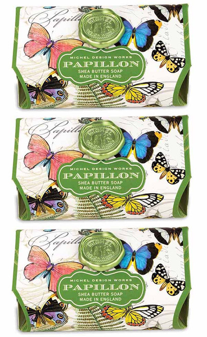 Set of 3, Papillon Large Bath Soap Bar, Michel Design Works, Scent, freshly cut meadow with touches of gardenia and honeysuckle, handmade in Sussex, England