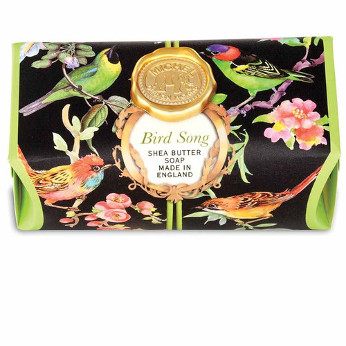 Bird Song Large Bath Soap Bar, Michel Design Works, Scent, lime tea and yuzu with undertones of cinnamon leaf and magnolia, handmade in Sussex, England, where Michel's artisan soap maker oversees every step