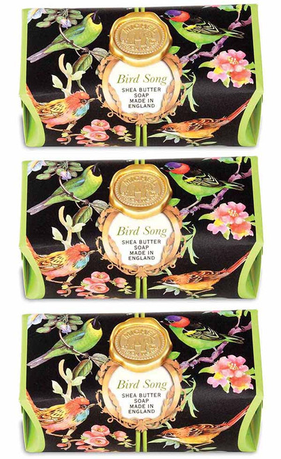 Set of 3, Bird Song Large Bath Soap Bar, Michel Design Works, Scent, lime tea and yuzu with undertones of cinnamon leaf and magnolia, handmade in Sussex, England