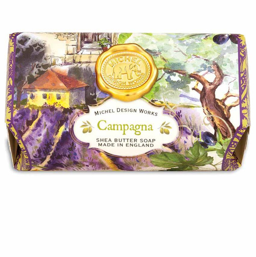 Compagna Large Bath Soap Bar, Michel Design Works, Scent, Verdant green tomato leaves of Tuscany with touches of citrus and sage, handmade in Sussex, England, where Michel's artisan soap maker oversees every step