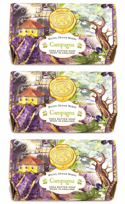Set of 3, Compagna Large Bath Soap Bar, Michel Design Works, Scent, Verdant green tomato leaves of Tuscany with touches of citrus and sage, handmade in Sussex, England