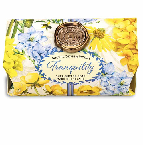 Tranquility Large Bath Soap Bar, Michel Design Works, Scent, Soothing sweet floral with hints of plum, amber and peach, handmade in Sussex, England