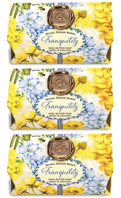 Tranquility Large Bath Soap Bar, set of 3, Michel Design Works, Scent, Soothing sweet floral with hints of plum, amber and peach, handmade in Sussex, England