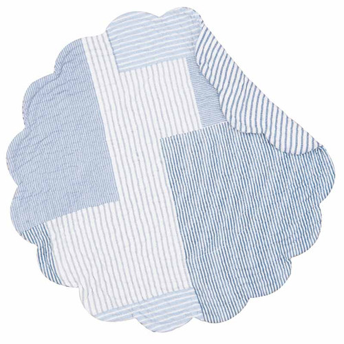 Asher Stripe Round Placemat, C and F Home, light blue patchwork pattern, reverse side blue and white stripes.