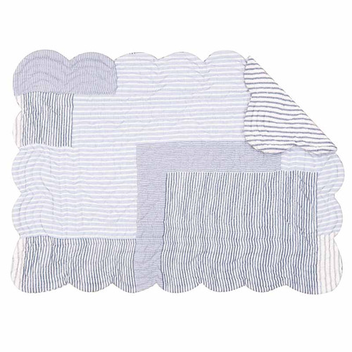 Asher Stripe Placemat, C and F Home, Blue and White patchwork quilt pattern, reverse side blue and white stripes