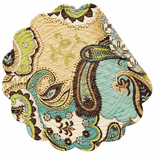 Kasbah Round Placemat, C and F Home, Arts and Crafts paisley pattern in brown, tan, blues, and greens