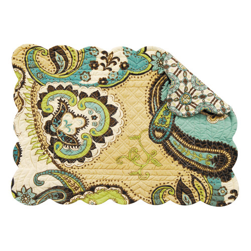 Kasbah Placemat, C and F Home, Arts and Crafts paisley pattern in brown, tan, blues, and greens