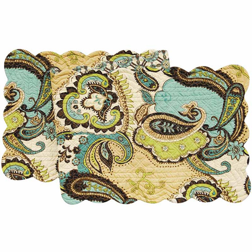 Kasbah Table Runner, C and F Home, Arts and Crafts paisley pattern in brown, tan, blues, and greens.