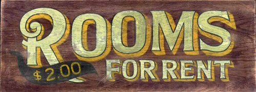 Rooms to Rent, Red Horse Signs, vintage rustic wooden sign,  2 bucks a room, that's cheap, no phone, no pool, no pets, at the end of the road