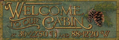 Welcome to Our Cabin, custom Red Horse Signs, rustic vintage print on distressed wood, customize and personalize this sign with your own latitude and longitude