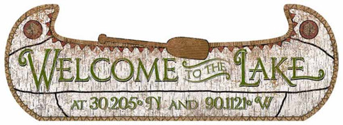 Birchbark Canoe, Red Horse Signs, Welcome to Our Lake, custom vintage wooden wall art, outline of a canoe and paddle, custom latitude and longitude