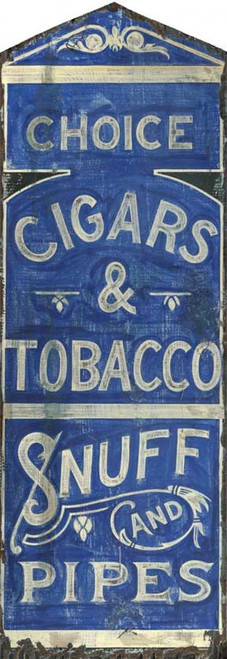 Pipes, Red Horse Signs, vintage art on distressed wood, royal blue background off-white letters, choice cigars and tobacco, snuff, great in the Man Cave