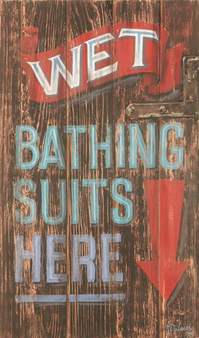 Wet Suits, Red Horse Signs, vintage art on wood, artist Terri Palmer, wet bathing suits go here, red arrow on black background and distressed wood