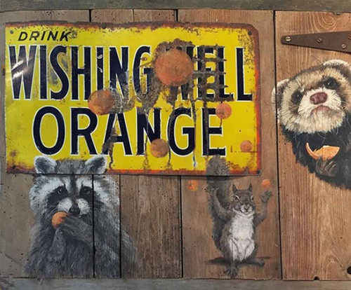 Wild Party, Wishing Well Orange, Red Horse Signs, artist Terri Palmer, distressed wood sign, Ron said, Wishing Well soda was as common as Coca Cola when I was a boy in London and Toronto, Ontario, Canada in the 40s and 50s, The bottles were distinctive and the flavors I recall were orange, cream soda, lime or lemon lime, and root beer.