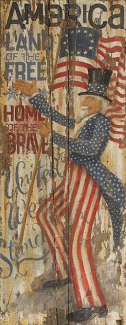 Uncle Sam, Red Horse Signs, artist Terri Palmer's interpretation of our own Uncle Sam in flowing frock coat of blue and white stars and red and white striped pants. Salute America, Home of the Free, Land of the Brave