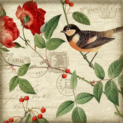 Melody II, Red Horse Signs, Suzanne Nicoll's wonderful orange breasted bird image, red flowers and berries, printed directly to a distressed wood panel with occasional knots and other natural characteristics