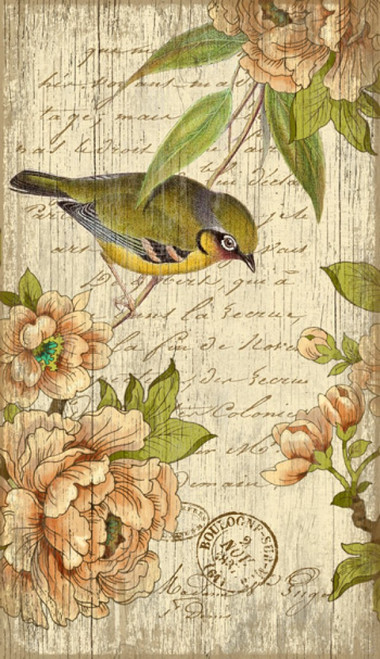 Left Bird, Red Horse Signs, vintage art on distressed wood, artist Suzanne Nicoll, image of a little French bird on a background of pink peonies