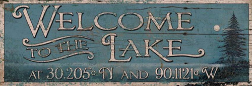 Latitude Lake, Red Horse Custom Signs, personalize this welcome to the lake sign with your latitude and longitude, blue background