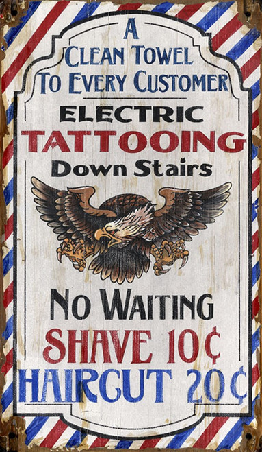 Tattooing, Red Horse Signs, American Eagle headlines this vintage advertisement printed on distressed wood, colors are red, white, and blue